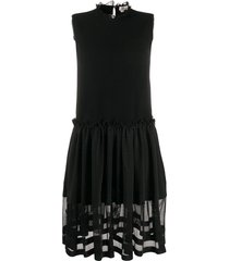 alexander mcqueen tulle skirt ribbed sleeveless dress - black