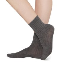 calzedonia - short ribbed socks with cotton and cashmere, 39-41, grey, women