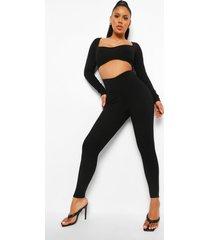 geribbelde skinny fit jumpsuit met uitsnijding, black