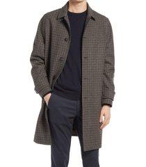 men's officine generale stephane plaid wool blend overcoat, size 38 us - brown