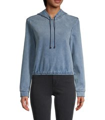 stretch-cotton cropped hoodie
