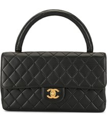 chanel pre-owned 1995 diamond quilted cc tote - black