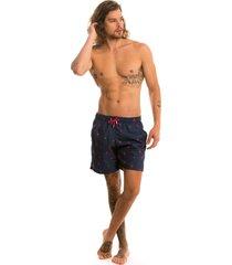 shorts praia tactel estampado lavíbora - pink flamingo azul - kanui