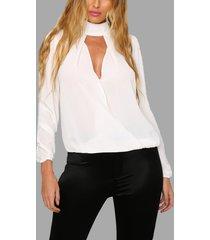 blanco transparente alto cuello manga larga camiseta hueca
