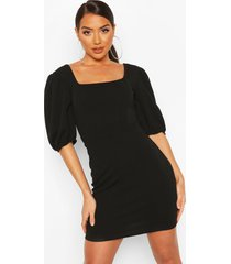corset top detail dress, black