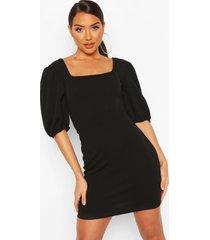 jurk met corsettop en details, zwart