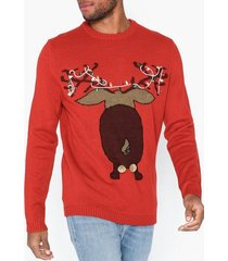 only & sons onsxmas 7 funny badge jaquard knit tröjor röd