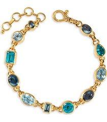 prism 24k yellow gold, blue topaz & apatite bracelet
