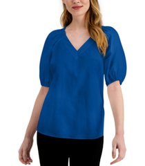 alfani petite smocked-shoulder top, created for macy's
