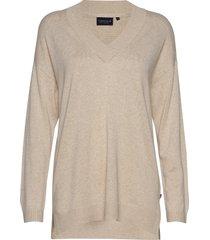 ana v-neck sweater gebreide trui beige lexington clothing