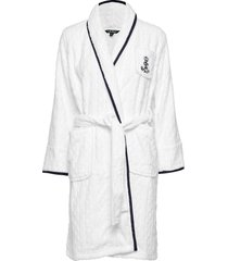lrl cable terry shawl collar robe morgonrock vit lauren ralph lauren homewear