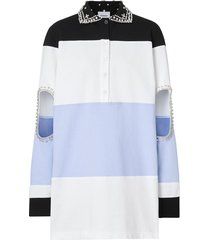 burberry crystal and cut-out detail cotton oversized polo shirt -