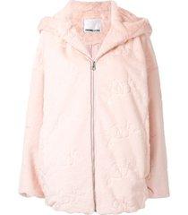 ground zero faux fur hooded coat - pink