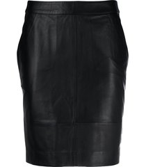 gestuz leather mini skirt - black