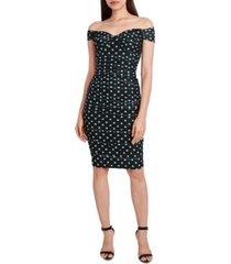 bcbgmaxazria sweetheart off-the-shoulder mesh dot dress