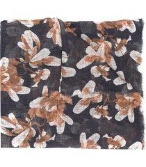 brunello cucinelli long floral print scarf - blue