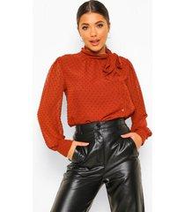 dobby mesh blouse met strik, rust