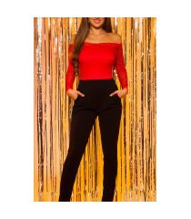 sexy jumpsuit met kant & carmen cutout rood