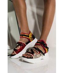 akira cape robbin ring the alarm flat snake print sandal