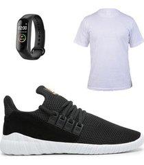 tênis simon vergan super leve masculino + camiseta gg + smartband - masculino