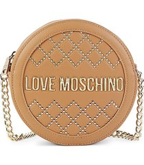 love moschino women's studded circle crossbody bag - camel