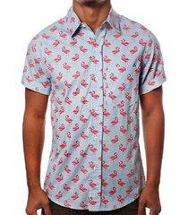 camisa camaleão urbano flamingos havaiana masculina - masculino