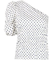 baum und pferdgarten polka dot-print one-shoulder blouse - white