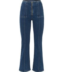 jeans a zampa cropped in cotone biologico (blu) - rainbow