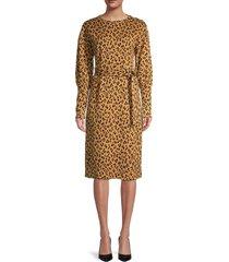 walter baker women's animal-print long bishop-sleeve midi dress - classic leopard - size xs