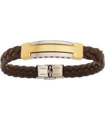 bracelete de aço inox tudo joias gold com 12mm de largura