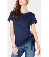 i.n.c petite side-ruched t-shirt, created for macy's