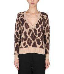 anna molinari v-neck sweater with animal print