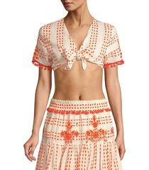 tessora women's lydia embellished tie-front crop top - white orange - size m