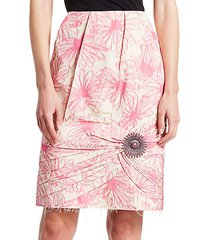 floral print silk brooch skirt