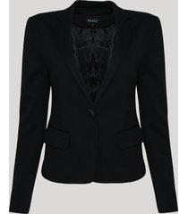 blazer feminino básico acinturado com bolsos e botões preto