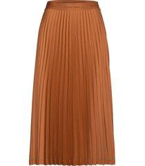 logo waistband pleat midi skirt knälång kjol brun calvin klein