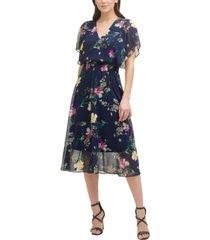 dkny floral-print smocked-waist flutter-sleeve midi dress