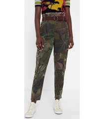 floral tencel™ cargo trousers - green - xl