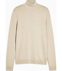 mens beige stone marl roll neck sweater