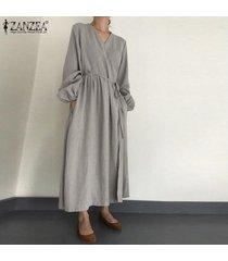 zanzea vestido camisero de manga larga con linterna para mujer vestido largo largo elegante para mujer kaftan tallas grandes -gris claro