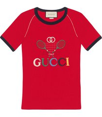 gucci gucci tennis embroidered t-shirt