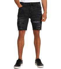 river island bandana extreme distressed denim shorts, size 32 in black at nordstrom