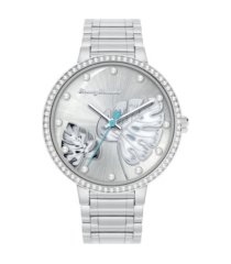 tommy bahama women's shimmery fronds crystal silver-tone stainless steel bracelet watch, 36mm