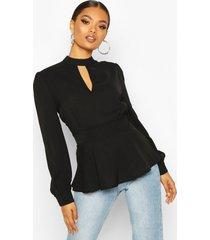 keyhole detail woven blouse, black