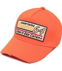dsquared2 logo patch baseball cap - orange