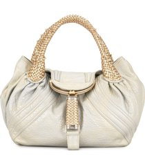 fendi pre-owned braided straps flap tote bag - silver