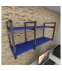 prateleira industrial para escritório aço preto mdf 30 cm azul escuro modelo ind19azes
