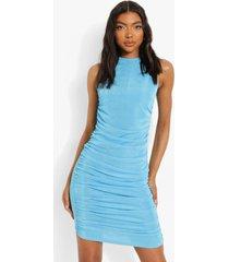 tall geplooide mini jurk, turquoise