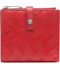 bottega veneta intrecciato bi-fold leather wallet - red