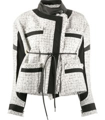 sacai contrast panel back tie tweed jacket - white